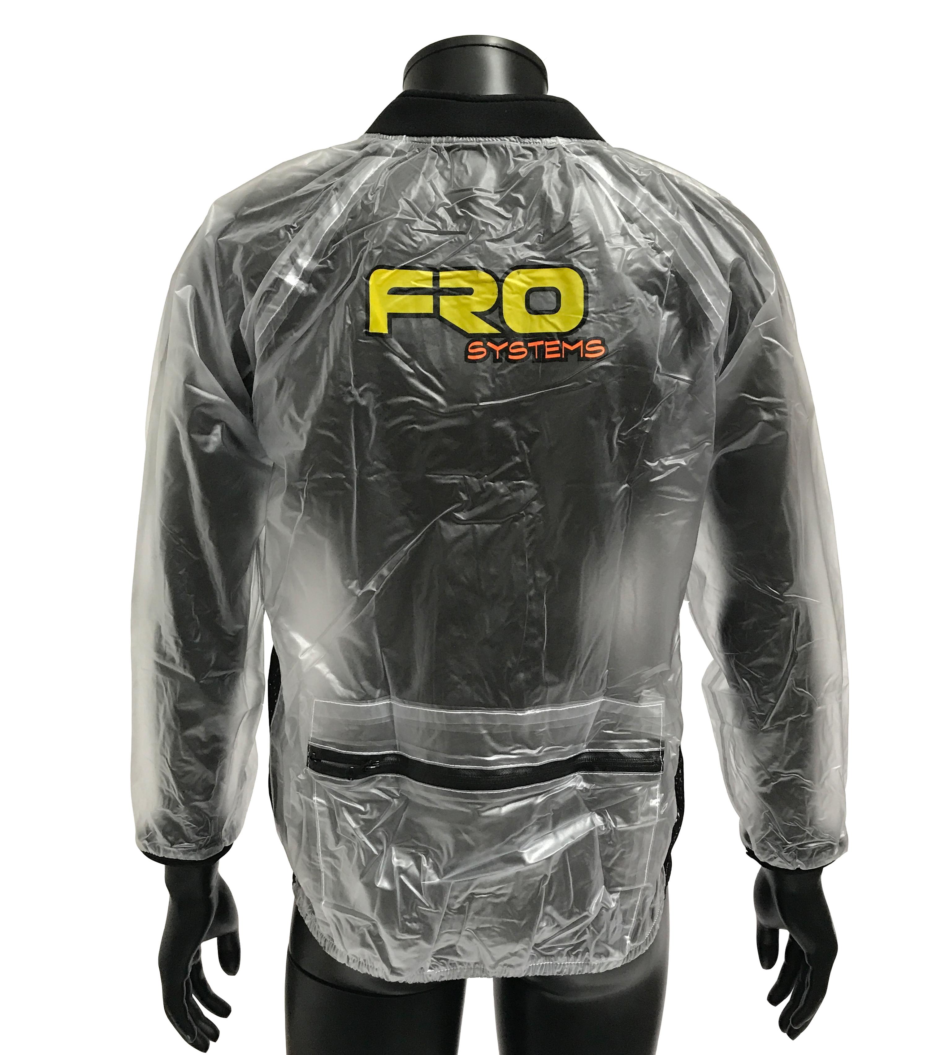 rear adult transparent waterproof race jacket